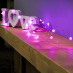 Heart Battery Fairy Lights on Silver Wire, 20 Pink LEDs