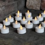 20 Battery Operated LED Flickering Tea Light Candles, White Base