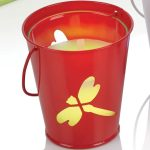 Citronella Candle in Red Bucket, Colour Changing LED