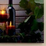 Leaves & Wine Scene Canvas Print with LED Lights, 30 x 40cm