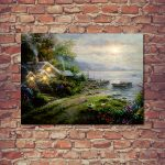 Premier Battery Cottage & Boat Canvas Scene, 40 x 30cm