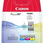 Genuine Multipack 3-Colour Canon CLI-521 Ink Cartridge – 2934B007AA