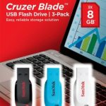 SanDisk Cruzer Blade USB Flash Drive 8GB – 3-Pack, Black, Blue, White