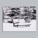 Black & White Battery LED Light Up Snowy Bench Canvas Scene, 40 x 30cm