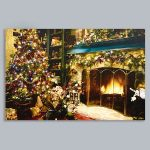 Premier Battery LED Light Up Fireplace Canvas Scene, 60 x 40cm