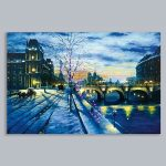 Premier Battery LED Light Up Winter Bridge Canvas Scene, 60 x 40cm