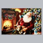 Premier Battery LED Light Up Santa by Fireplace Canvas Scene, 60 x 40cm