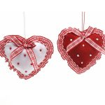 2 ASSTD RED/WHITE FABRIC HEARTS