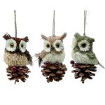 10CM OWL HANGING TREE ORNAMENT, ASST DESIGNS