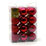 24 x 60MM RUBY RED ASST FINISH SHATTERPROOF BAUBLES