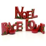18CM ASST JOY/PEACE/NOEL RED CERAMIC TEALIGHT CANDLE HOLDERS