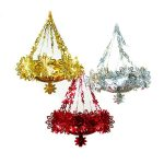 60CM SHINY FOIL CHANDELIER DECORATION – ASST COLS