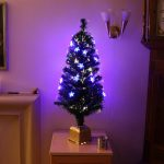 Indoor Green Fibre Optic Tree, Blue LED Stars, 90cm