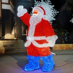 LED Crystal Sculpture, Waving Santa Claus, 5994 Leds, 205cm