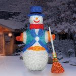 LED Crystal Sculpture, Snowman with Broom, 7000 Leds, 200cm