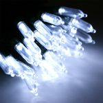 80 White LED chasing fairy lights, traditional bulb, 5m length, 3m lead cable, dark cable, 24V