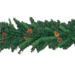 Indoor Artificial green garland with cones, 270cm