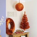Indoor Colour Tinsel Ball, copper matt leaves, 30cm