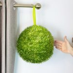 Indoor Colour Tinsel Ball, Lime green matt leaves, 30cm