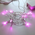 Indoor LED battery light set, Static, 10 Pink leds, 5mm, clear cable, 50cm lead, 3xAA, 1m