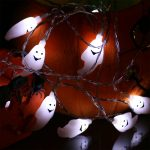 1.8m Battery Operated Ghost Halloween Fairy Lights, 10 White LED's