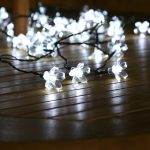50 White LED Blossom Indoor & Outdoor Battery Fairy Lights with Timer