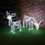 Animated Standing & Eating Deer Silhouette Figure, White LED, 2 Pack