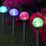 4 Colour Changing Solar Crackle Ball Stainless Stake Lights