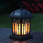 Black Solar Candle Lantern, Flickering Amber LED, 27cm