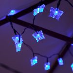 Solar Butterfly Fairy Lights, 50 Blue LEDs, 5m