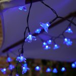 Solar Blossom Fairy Lights, 50 Blue LEDs, 5m
