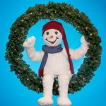 Animated Snowman Sitting Wreath with lights