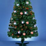 6ft Green Fibre Optic Christmas Tree with Parcel Decorations, Colour Changing LEDs