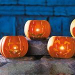 3 Halloween Pumpkin Candle Holders with Tea Lights, 7cm
