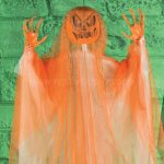 1m Orange Hanging Scary Pumpkin Ghost