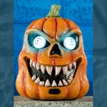20cm Battery Operated Halloween Evil Pumpkin with Sound, White LEDs