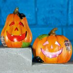 2 Battery Pumpkin Halloween Party Lights, 3 Colour Changing LEDs