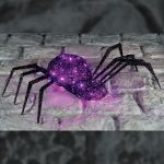 35 x 75cm Battery Operated Halloween Black Thread Spider, Purple LEDs