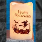 10cm Battery Operated Happy Halloween Candle with Spooky Figure
