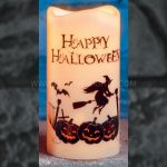 15cm Battery Operated Happy Halloween Candle with Spooky Figure