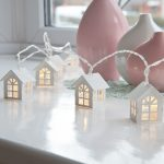 White Wooden House Battery Fairy Lights, Warm White LED