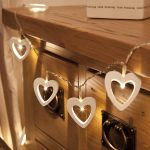 White Wooden Heart Battery Fairy Lights with Timer, Warm White LEDs