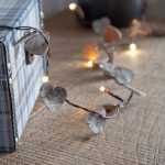 Bark Effect Heart Battery Fairy Lights with timer, Warm White LEDs