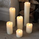 6 Battery Operated Flickering LED Wax Pillar Candles