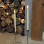 2 Battery Flickering Taper LED Wax Candles, 27.5cm