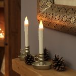 2 Battery Flickering Taper LED Wax Candles with Base, 24cm