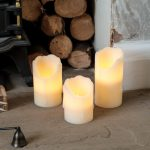 3 Battery Flickering LED Wax Pillar Candles with Timer