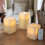 3 Square Battery Flickering Scented LED Candles with Remote Control