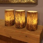 3 Battery Flickering LED Candles With Bark Effect, 12.5cm