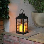 Outdoor Battery Flickering Candle Lantern, Gold, 31cm
